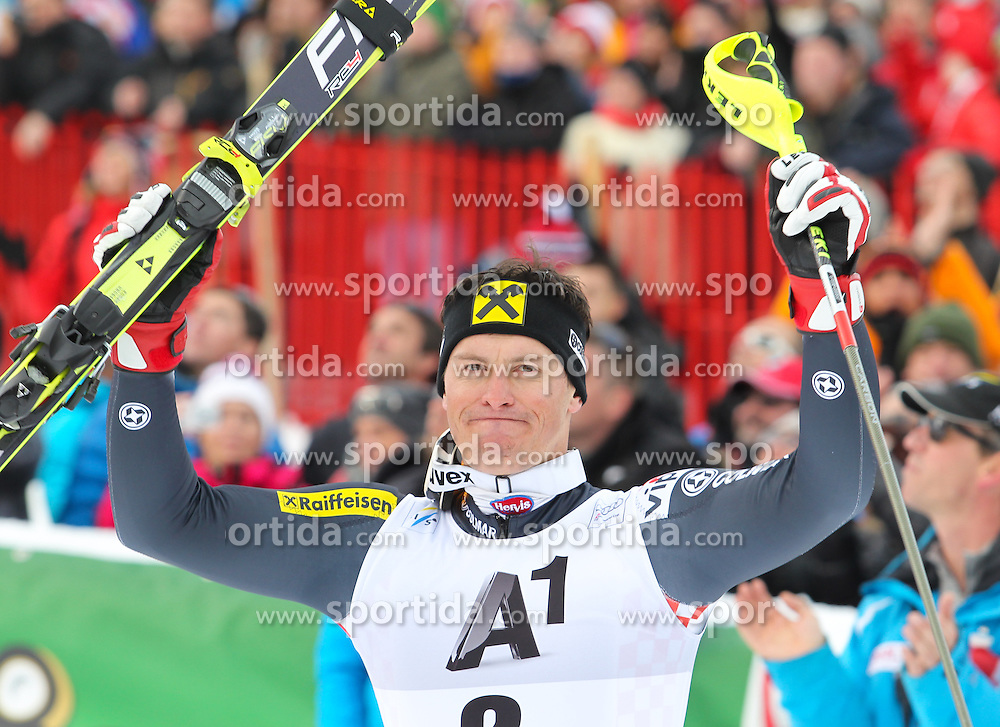27.01.2013, Ganslernhang, Kitzbuehel, AUT, FIS Weltcup Ski Alpin, Slalom, Herren, Podium Kombination, im Bild Ivica Kostelic (CRO, 1. Platz) //  1st place Ivica Kostelic of Croatia celebrate on Hahnenkamm Combi podium during the mens Slalom of the FIS Ski Alpine World Cup at the Ganslernhang course, Kitzbuehel, Austria on 2013/01/27. EXPA Pictures © 2013, PhotoCredit: EXPA/ Sammy Minkof