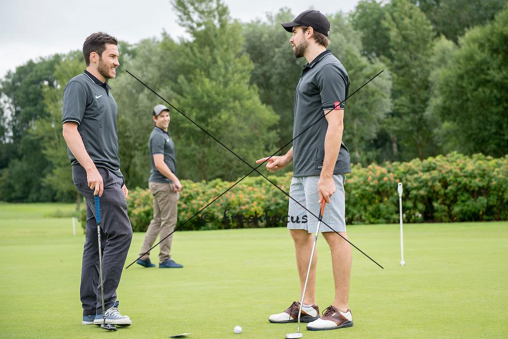 30.07.2014; Luterbach; Eishockey - Swiss Ice Hockey Golf Trophy 2014; Thibaut Monnet und Etienne Froidevaux<br /> (Claudia Minder/freshfocus)