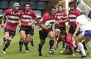 © Peter Spurrier / Intersport images.email images@intersport-images.com.21/6/03 Photo Peter Spurrier.Imber Court - Esher - Surrey.IRB U21 Rugby World Cup - Iffley Road - Oxford .Italy v Japan.Japanese players support Tomoaki Taniguchi breaking with the ball