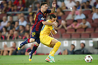 Lionel Messi of Barcelona and Constantinos Charalambides of Apoel during the UEFA Champions League, Group F, football match between FC Barcelona and Apoel FC on September 17, 2014 at Camp Nou stadium in Barcelona, Spain. Photo Bagu Blanco / DPPI