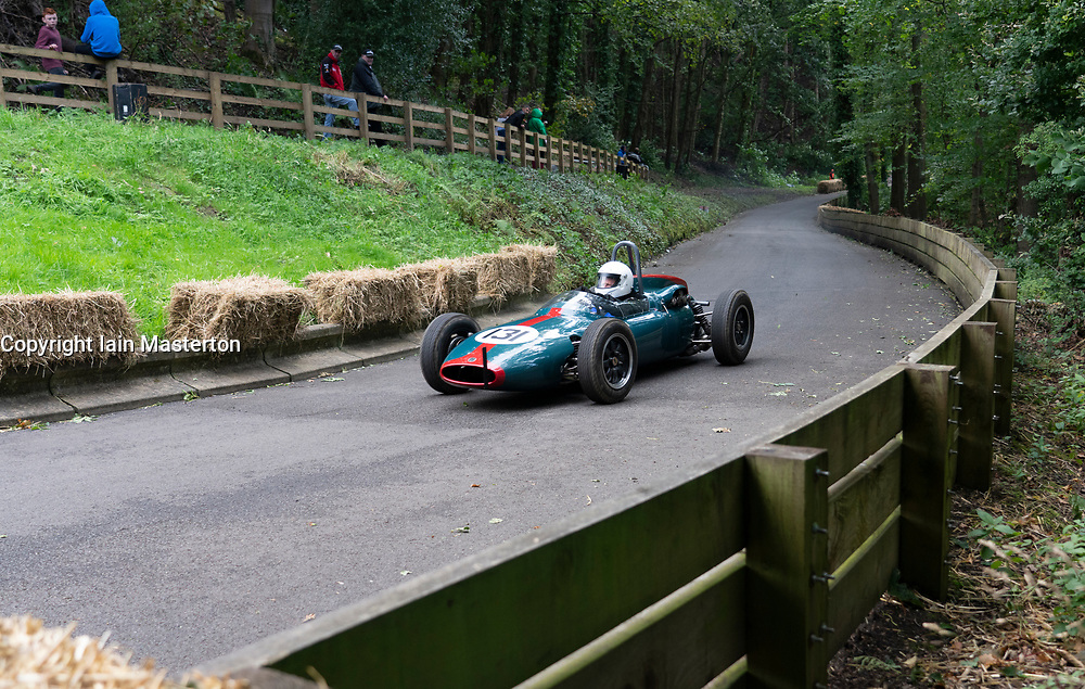 Boness Revival hillclimb motorsport event in Boness, Scotland, UK. The 2019 Bo'ness Revival Classic and Hillclimb, Scotland's first purpose-built motorsport venue, it marked 60 years since double Formula 1 World Champion Jim Clark competed here.  It took place Saturday 31 August and Sunday 1 September 2019. 131. Jeremy Bouckley. Cooper Formula Junior