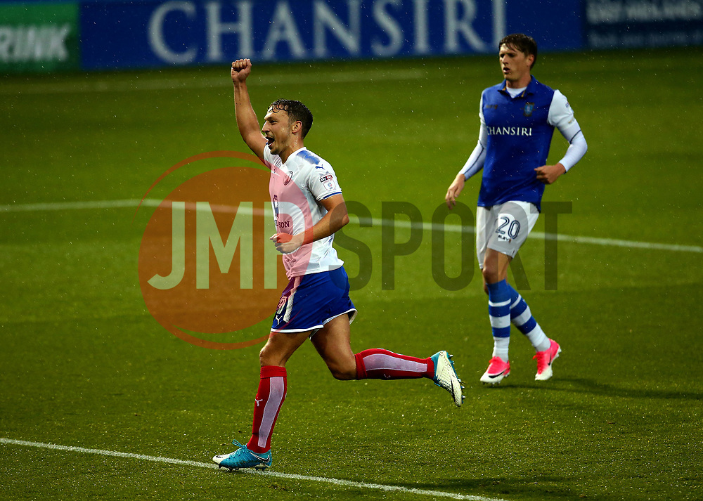 Kristian Dennis of Chesterfield celebrates scoring a goal - Mandatory by-line: Robbie Stephenson/JMP - 08/08/2017 - FOOTBALL - Hillsborough - Sheffield, England - Sheffield Wednesday v Chesterfield - Carabao Cup