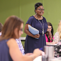 Evon Huddleston leads a Tupelo Public School District orientation class for new teachers to the district held Tuesday at Rankin Elementary School.