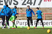 Forest Green Rovers Charlie Cooper(15) warming up during the EFL Sky Bet League 2 match between Morecambe and Forest Green Rovers at the Globe Arena, Morecambe, England on 17 February 2018. Picture by Shane Healey.
