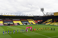 Football - 2019 / 2020 Premier League - Watford vs. Leicester City<br /> <br /> The teams line up in an empty stadium, at Vicarage Road.<br /> <br /> COLORSPORT/ASHLEY WESTERN