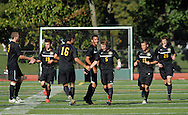 PERKASIE, PA -  SEPTEMBER 18:  Central Bucks West players celebrate after scoring in the second half during a soccer game at Pennridge September 18, 2013 in Perkasie, Pennsylvania. (Photo by William Thomas Cain/Cain Images for the Intelligencer)