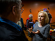 19 APRIL 2019 - HARLAN, IOWA: US Senator KIRSTEN GILLIBRAND talks to individual voters after a campaign event in a Mexican restaurant in Harlan, a rural Iowa town. Gillibrand is campaigning in western Iowa Friday to support her candidacy to be the Democratic nominee for the US presidency in the 2020 election. Iowa traditionally hosts the the first selection event of the presidential election cycle. The Iowa Caucuses will be on Feb. 3, 2020.                PHOTO BY JACK KURTZ