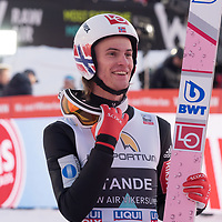 Raw Air photo from Vikersund Ski Flying Hill. Raw Air is a ten day ski jumping and ski flying tournament and is part of the World Cup competition. <br /> Raw Air 2018 was held in March 2018 in Norway at four different ski jumping hills - Oslo, Lillehammer, Trondheim and Vikersund. <br /> Vikersund Hill is a ski flying hill, in Modum, Norway is the largest in the world. Nine world records have been set on this hill, with the current one at 253.5 meters set by Stefan Kraft (Austria) on the 18th March 2017. Daniel Andre Tande