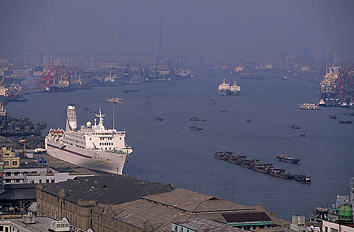 China, Cities, City of Shanghai. River traffic on Huang Pu River.