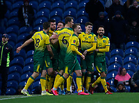 Football - 2019 / 2020 Emirates FA Cup - Fourth Round: Burnley vs. Norwich City<br /> <br /> Norwich City players celebrate after Grant Hanley puts them 1-0 ahead with a header, at Turf Moor.<br /> <br /> COLORSPORT/ALAN MARTIN