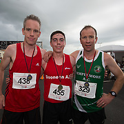 25.08. 2017.                                                      <br /> Almost 200 UL Hospitals Group staff, past and present, and members of the public completed the annual 5k Charity Run/Walk on Friday August 25th in Limerick.<br /> <br /> Pictured at the event were the mens finalists, Gary Madden, An Bru A.C. 2nd, Kevin O'Grady, Dooneen A.C.1st and Peter Madden, Templemore A.C. 3rd.<br /> <br /> <br /> Everybody who participated also raised funds for Friends of Ghana, an NGO formed last year by UL Hospitals Group and its academic partner the University of Limerick to deliver medical training programmes in the remote Upper West Region of Ghana. Picture: Alan Place