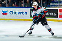 KELOWNA, BC - FEBRUARY 17: Devin Steffler #4 of the Kelowna Rockets skates with the puck during first period against the Calgary Hitmen at Prospera Place on February 17, 2020 in Kelowna, Canada. (Photo by Marissa Baecker/Shoot the Breeze)