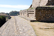 Looking along the side of the North Platform toward the Gran Plaza of Monte Alban, Oaxaca, Mexico.