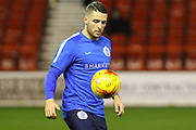 New QPR signing, forward Conor Washington warms up ahead of the Sky Bet Championship match between Nottingham Forest and Queens Park Rangers at the City Ground, Nottingham, England on 26 January 2016. Photo by Aaron Lupton.