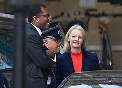 © Licensed to London News Pictures. 15/11/2018. London, UK. Liz Truss is seen speaking with Kwasi Kwarteng in the courtyard of Parliament. Prime Minister Theresa May has made a statement to MPs in Parliament on the EU withdrawal agreement today after cabinet agreed on the proposal. Photo credit: Peter Macdiarmid/LNP