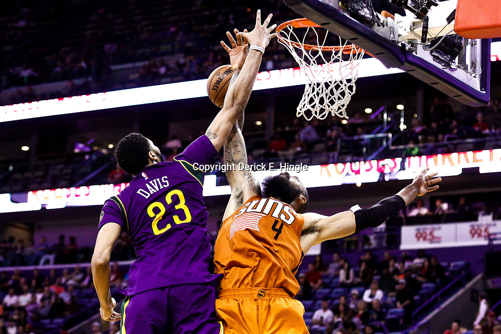 Feb 6, 2017; New Orleans, LA, USA; New Orleans Pelicans forward Anthony Davis (23) blocks Phoenix Suns center Tyson Chandler (4) during the second half of a game at the Smoothie King Center. The Pelicans defeated the Suns 111-106. Mandatory Credit: Derick E. Hingle-USA TODAY Sports