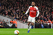 Arsenal Forward Alexandre Lacazette (9) in action during the Europa League round of 16, leg 2 of 2 match between Arsenal and Rennes at the Emirates Stadium, London, England on 14 March 2019.