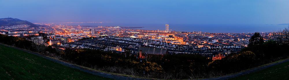 Swansea panoramic city skyline