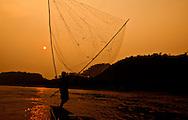 net fishing on the Mekong River, Luang Prabang, Lao