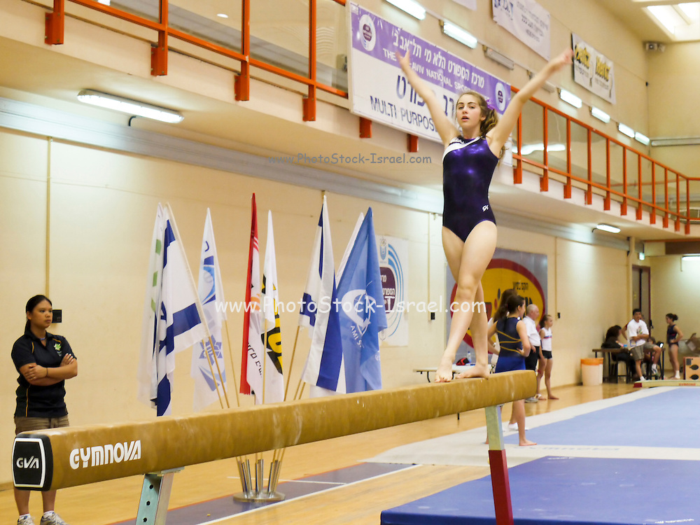 Israel, The Maccabiah an international Jewish athletic event similar to the Olympics held in Israel every four years Artistic gymnastics young competitor on a beam July 2009