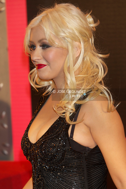 Singer and actress Christina Aguilera attends 'Burlesque' premiere at Callao cinema on December 9, 2010 in Madrid, Spain.