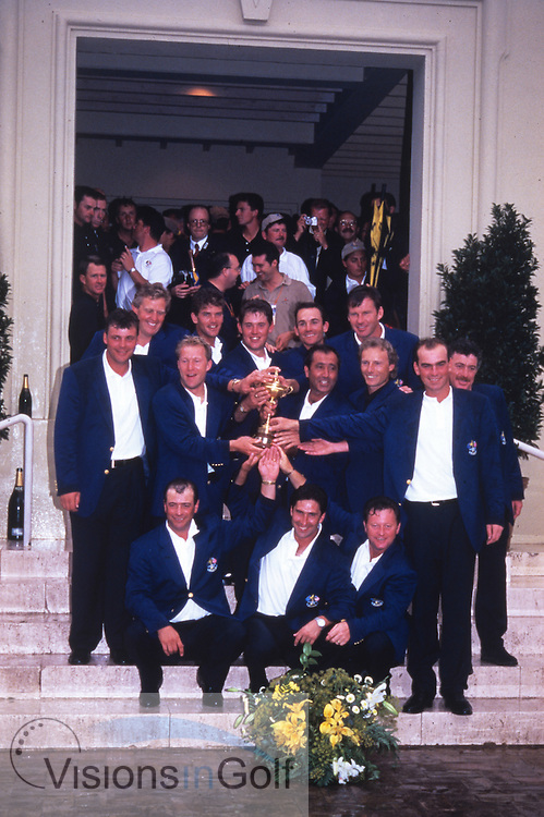 Seve Ballesteros captain and winning European Team<br /> Ryder Cup 1997 Spain<br /> Picture Credit:  Mark Newcombe / www.visionsingolf.com