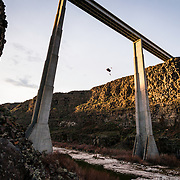 Ian jumping of Hansen Bridge in Twin Falls, Idaho