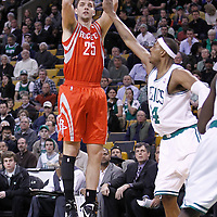 06 March 2012: Houston Rockets forward Chandler Parsons (25) takes a jumpshot during the Boston Celtics 97-92 (OT) victory over the Houston Rockets at the TD Garden, Boston, Massachusetts, USA.