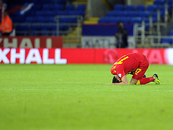 Gareth Bale of Wales (Real Madrid) goes down injured  - Photo mandatory by-line: Joe Meredith/JMP - Tel: Mobile: 07966 386802 10/09/2013 - SPORT - FOOTBALL - Cardiff City Stadium - Cardiff -  Wales V Serbia- World Cup Qualifier