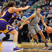 HARTFORD, CONNECTICUT- JANUARY 4: Napheesa Collier #24 of the Connecticut Huskies drives to the basket defended by Kristen Gaffney #24 of the East Carolina Lady Pirates during the UConn Huskies Vs East Carolina Pirates, NCAA Women's Basketball game on January 4th, 2017 at the XL Center, Hartford, Connecticut. (Photo by Tim Clayton/Corbis via Getty Images)