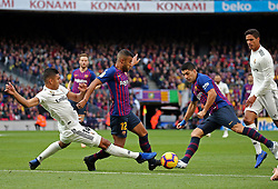 October 28, 2018 - Barcelona, Catalonia, Spain - Luis Suarez, Rafinay and Casemiro during the match between FC Barcelona and Real Madrid CF, corresponding to the week 10 of the Liga Santander, played at the Camp Nou, on 28th October 2018, in Barcelona, Spain. (Credit Image: © Joan Valls/NurPhoto via ZUMA Press)