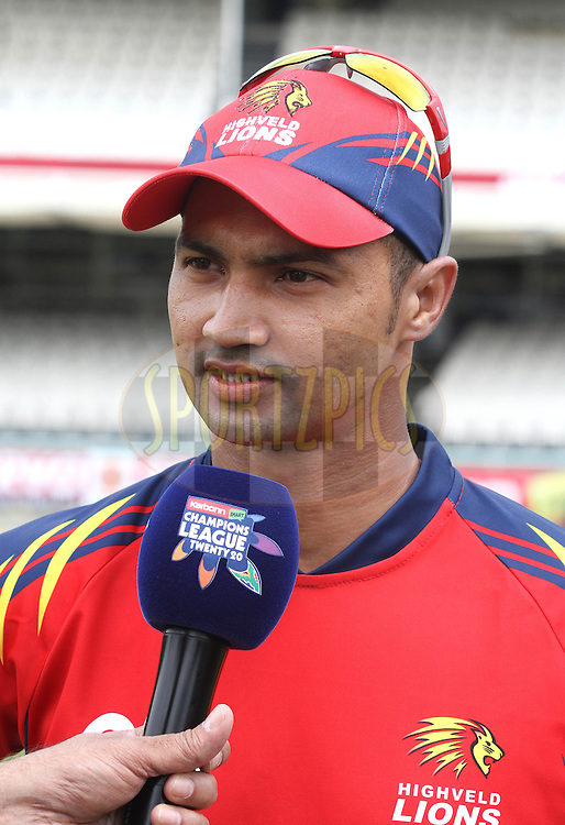 Highveld Lions captain Alviro Petersen during match 10 of the Karbonn Smart CLT20 South Africa between The Highveld Lions and The Sydney Sixers held at Newlands Stadium in Cape Town, South Africa on the 18th October 2012..Photo by Shaun Roy/SPORTZPICS/CLT20