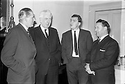 11/01/1963<br /> 01/11/1963<br /> 11 January 1963<br /> Bord Bainne (Irish Dairy Produce Board) meet Northern Ireland Milk Board to discuss problems of mutual interest at the Shelbourne Hotel, Dublin. Pictured at the meeting were (l-r): Mr J.K. Lynn, (N.I. Chairman); Mr P.J. Power, (Chairman An Bord Bainne); Mr A.J.F. O'Reilly, (General Manager, Bord Bainne) and Dr D. Armstrong, (general Manager N.I. Board).