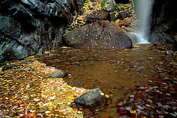 Fall Waterfalls Pitcher Falls in New Hampshire's White Mountains near the Kancamagus Highway.  Champney Falls Trail, NH
