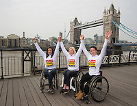 Virgin Money London Marathon 2015<br /> <br /> Left to right<br /> Jade Jones UK, Shelly Woods (UK) & Tatyana McFadden (USA)<br /> <br /> IPC Athletes competing in the IPC World Championships.<br /> <br /> Photo: Bob Martin for Virgin Money London Marathon<br /> <br /> This photograph is supplied free to use by London Marathon/Virgin Money.