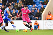 Hartlepool player Nathan Thomas works the ball pass a defender in the first half during the EFL Sky Bet League 2 match between Colchester United and Hartlepool United at the Weston Homes Community Stadium, Colchester, England on 25 February 2017. Photo by Ian  Muir.