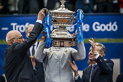 April 29, 2018 - Barcelona, Catalonia, Spain - RAFAEL NADAL (ESP) receives the trophy for his 11th title at the 'Barcelona Open Banc Sabadell' after winning the final against Stefanos Tsitsipas (GRE). Nadal won  6:2, 6:1 (Credit Image: © Matthias Oesterle via ZUMA Wire)