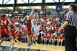 20 March 2010: Kelsey Rob reaches in from behind to block a shot by Meredith Kussmaul. The Flying Dutch of Hope College fall to the Bears of Washington University 65-59 in the Championship Game of the Division 3 Women's NCAA Basketball Championship the at the Shirk Center at Illinois Wesleyan in Bloomington Illinois.