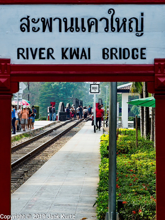 "09 JANUARY 2019 - KANCHANABURI, THAILAND: The train station at the ""Bridge On the River Kwai"" in Kanchanaburi. Hundreds of thousands of Asian slave laborers and Allied prisoners of war died in World War II constructing the ""Death Railway"" between Bangkok and Rangoon (now Yangon), Burma (now Myanmar) for the Japanese during World War II.  The bridge is now one of the most famous tourist attractions in Thailand.     PHOTO BY JACK KURTZ"