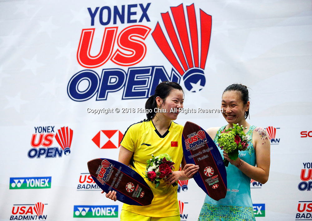 China's Li Xuerui claims title of U.S. Open Badminton Championships women's singles <br /> <br /> Li Xuerui (L) of China, and Beiwen Zhang of USA, celebrate with their trophies after the women's singles final match at the U.S. Open Badminton Championships in Los Angeles, the United State on June 17, 2018. Li won 2-1. (Xinhua/Zhao Hanrong)<br /> (Photo by Ringo Chiu)<br /> <br /> Usage Notes: This content is intended for editorial use only. For other uses, additional clearances may be required.