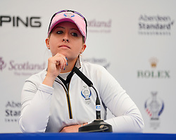 Auchterarder, Scotland, UK. 12 September 2019. Press conference with Team Europe players for the 2019 Solheim Cup. Pictured; Jodi Ewart Shadoff. Iain Masterton/Alamy Live News