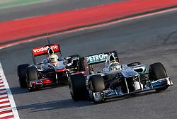 Motorsports / Formula 1: World Championship 2011, Testing in Barcelona, test, 08 Nico Rosberg (GER, Mercedes GP Petronas), 04 Lewis Hamilton (GBR, Vodafone McLaren Mercedes),