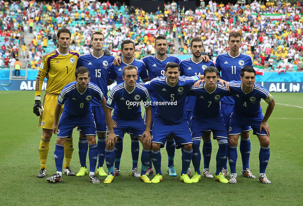 25.06.2014. Salvador, Brazil. Bosnia And Herzegovinas players pose for a group photo during a Group F match between Bosnia And Herzegovina and Iran of 2014 FIFA World Cup at the Arena Fonte Nova Stadium in Salvador, Brazil, June 24, 2014.