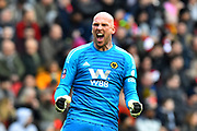 Goal - John Ruddy (21) of Wolverhampton Wanderers celebrates the goal scored by Ivan Cavaleiro (7) of Wolverhampton Wanderers to make the score 0-1 during the The FA Cup 5th round match between Bristol City and Wolverhampton Wanderers at Ashton Gate, Bristol, England on 17 February 2019.