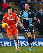 Paul Hayes of Wycombe Wanderers (right) and Jonathan Smith of Luton Town (left) during the Sky Bet League 2 match at Adams Park, High Wycombe<br /> Picture by David Horn/Focus Images Ltd +44 7545 970036<br /> 26/12/2014