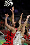 14th April 2018, Gold Coast Convention and Exhibition Centre, Gold Coast, Australia; Commonwealth Games day 10, Basketball, Mens semi final, New Zealand versus Canada; Ammanuel Diressa of Canada and Shea Ili go up for the rebound during the game