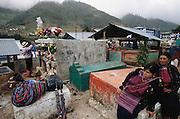 Day of the Dead graveyard preparation.  Todos Santos de Cuchumatan, Guatemala.