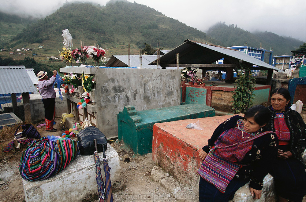 Day of the Dead graveyard preparation.  Todos Santos de Cuchumatan, Guatemala.