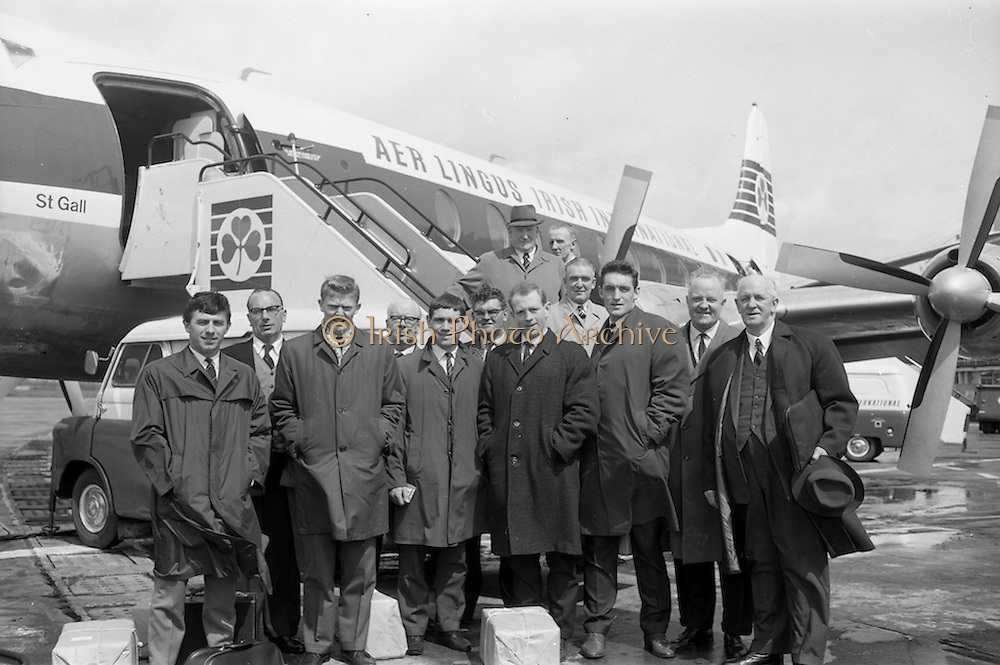 08/05/1964<br /> 05/08/1964<br /> 08 May 1964<br /> F.A.I. party leave for Continental Tour. Some players and officials of the F.A.I. pictured at Dublin Airport before departure to London en route to International matches with Poland and Norway. Included are: W. Browne (Bohemians); Johnny Fullam (Shamrock Rovers); P. Ambrose (Shamrock Rovers) J. Haverty (Millwall); E. Strahan (Shelbourne) Trainer; P.Fox (Bohemians). Officials: W. McConnioch (Chairman F.A.I.) L. Rapple (Honorary Secretary); J.I. Wickham (Secretary); E. Morris (Council Member) and G. Ware.
