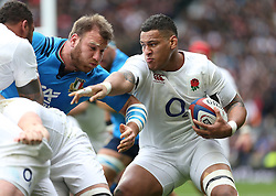 26 February 2017 : 6 Nations Rugby : England v Italy :<br /> Nathan Hughes of England tries to find his way through the Italian defence.<br /> Photo: Mark Leech